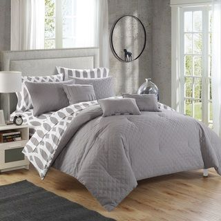 Chic Home Stein Grey Diamond 10-Piece Bed In a Bag | Overstock.com Shopping - The Best Deals on Bed-in-a-Bag