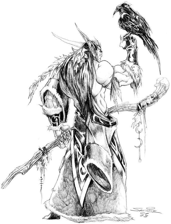 Night Elf Druid Drawing Rpg Em 2019 Ideias Para Desenho Artes