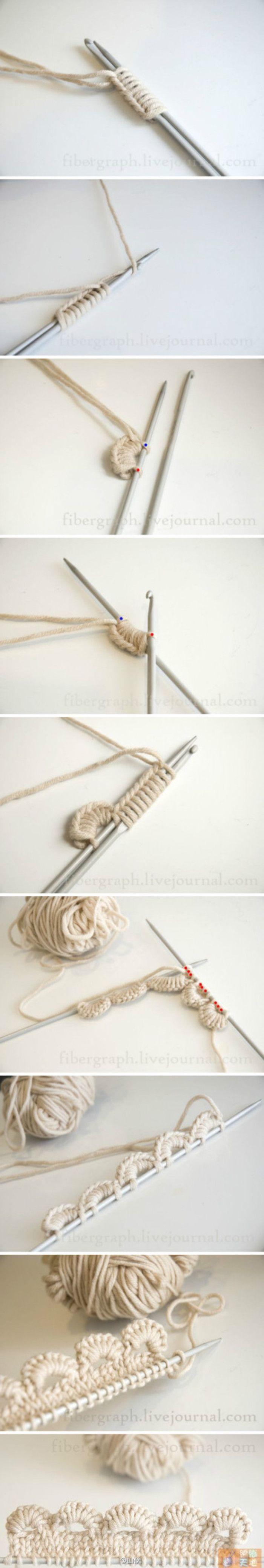 花边 knitting a lace edge, this is Great!!! Going to do it on my present project!!!!