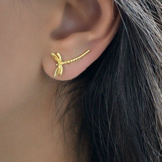 Star ear climber ear cuff earrings Rose Gold or Silver 18ct Gold