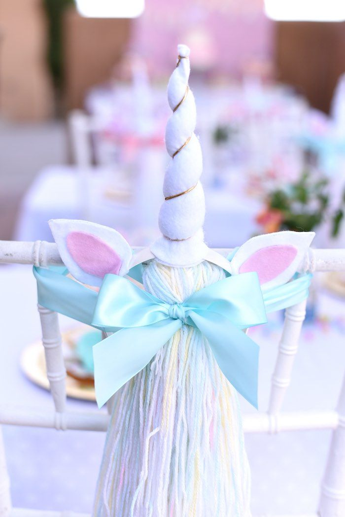 Unicorn horn + tail favors from a Pastel Unicorn Themed Birthday Party via Kara's Party Ideas | KarasPartyIdeas.com (34)