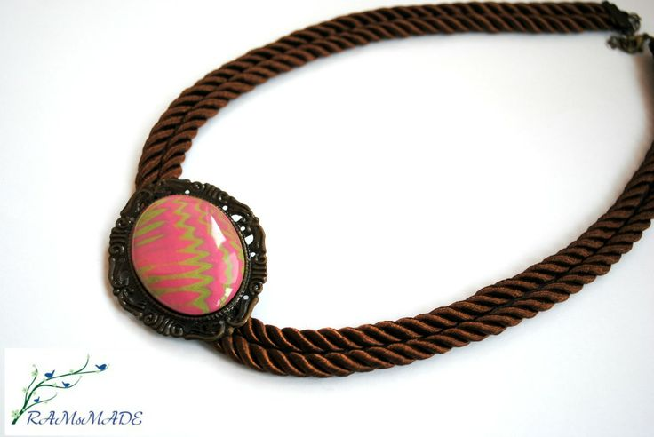 modern-ancient necklace polymer cabochon