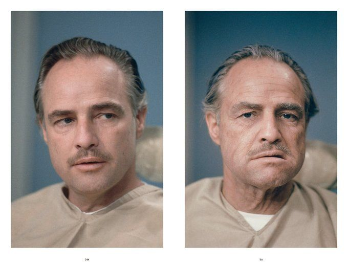 Marlon Brando makeup before and after on the set for The Godfather, 1972