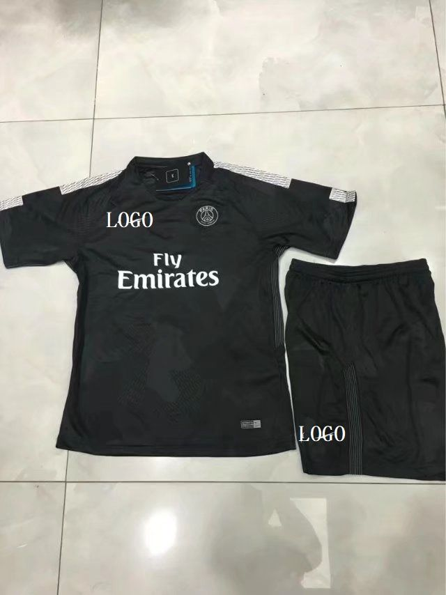 f7709fd17f2 17-18 Kids Cheap PSG Third Away Soccer Jersey Uniform Children Cheapest Football  Kits Complete Uniform