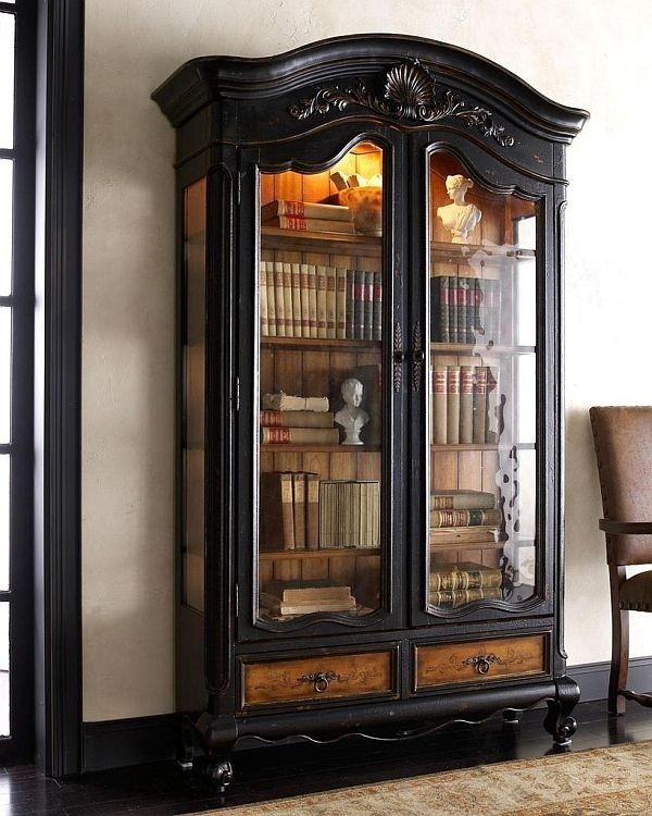 GORGEOUS!!!! Find a china hutch on Craigs list, paint it black, and repurpose it into an antique book cabinet.