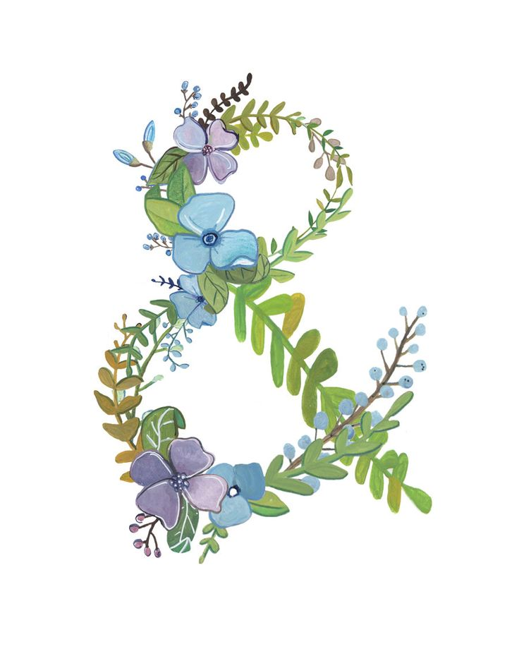 Ampersand Floral Ampersand Print by Makewells on Etsy