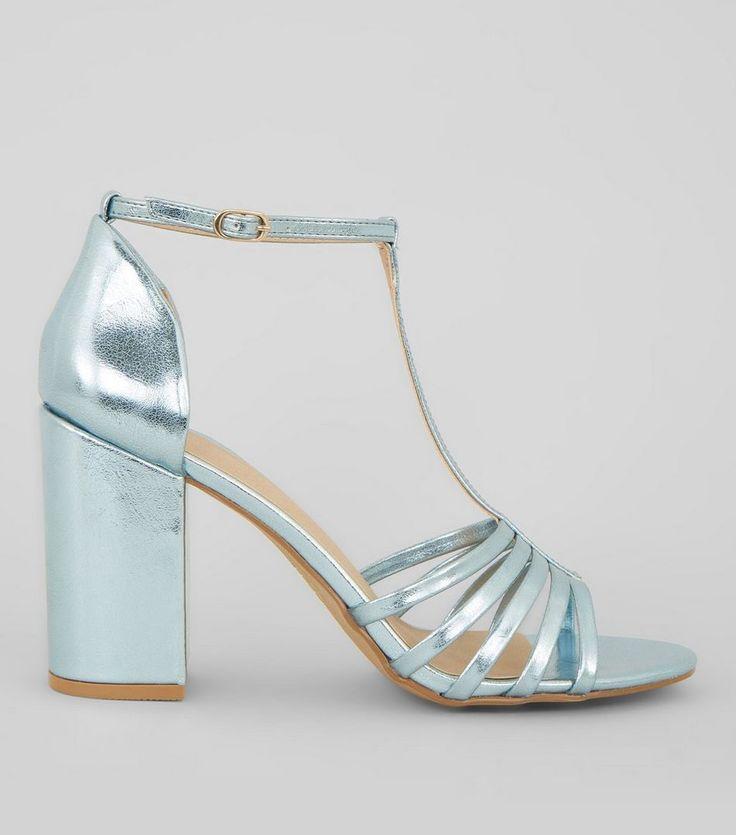 Blue Metallic Multi Strap Heeled Sandals   New Look
