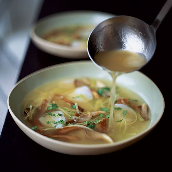 Scallop and Mushroom Soup with Ginger and Leeks