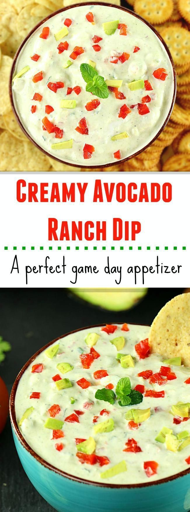 A healthy and Creamy Avocado Ranch Dip is fairly simple to make and is a great appetizer for parties or game day. Bring in your tortilla chips or fresh cut veggies and see them disappear!
