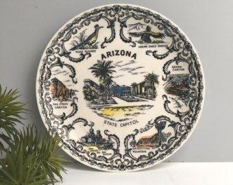 Arizona souvenir piatto - piatto ovale dell'annata stato - Arizona icone e luoghi d'interesse - souvenir di viaggio di strada - piastra wall decor