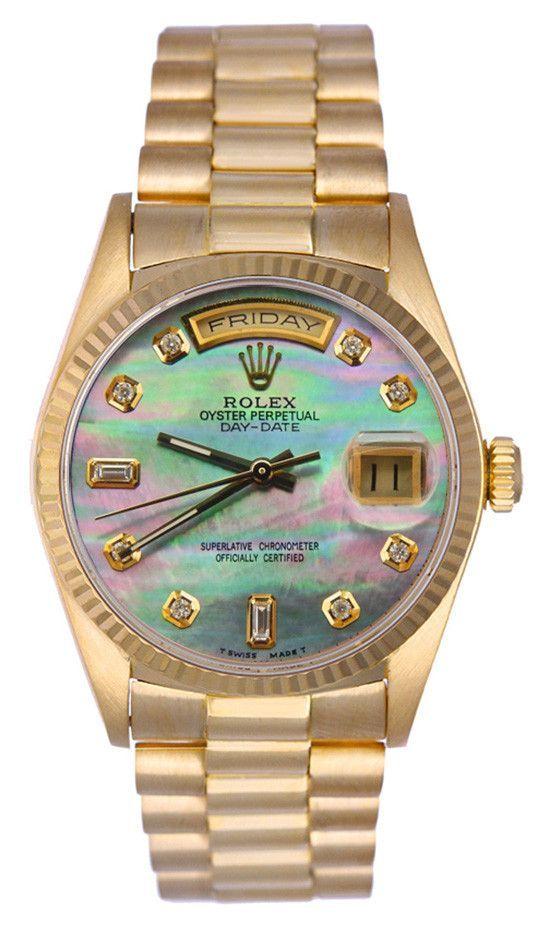 Rolex Mens President Yellow Gold Black MOP Diamond Dial / Fluted Bezel