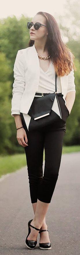 Ax Paris Bi Tone White Wrap Top Black Crop Pant Playsuit by Leona Meliskova