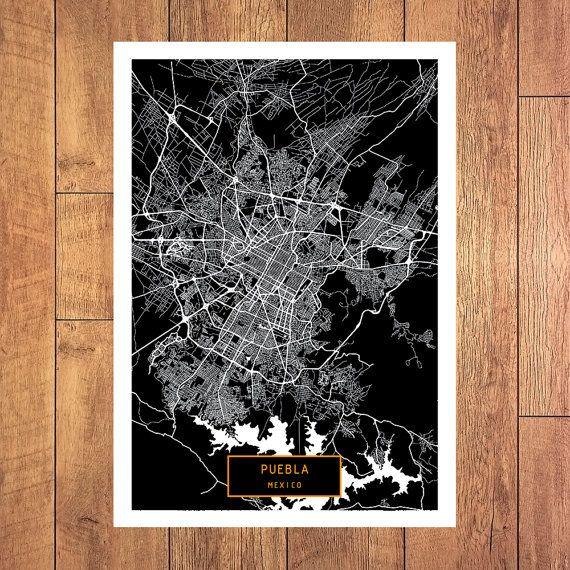 PUEBLA Mexico CANVAS Large Art City Map Puebla by JackTravelMap