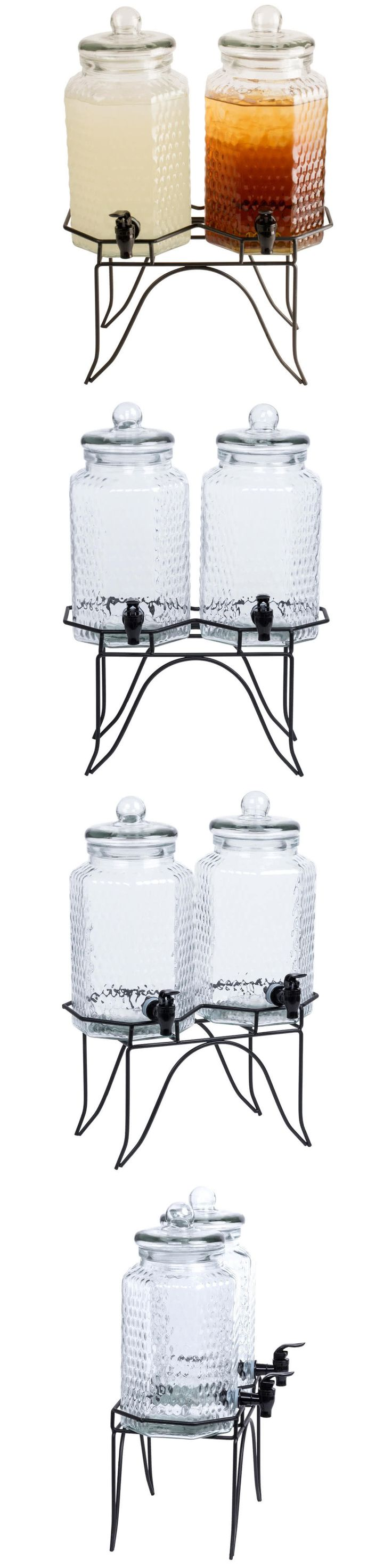 Food And Drink: Double 1 Gallon Glass Beverage Dispenser With Metal Stand 553100Dblkit -> BUY IT NOW ONLY: $45 on eBay!
