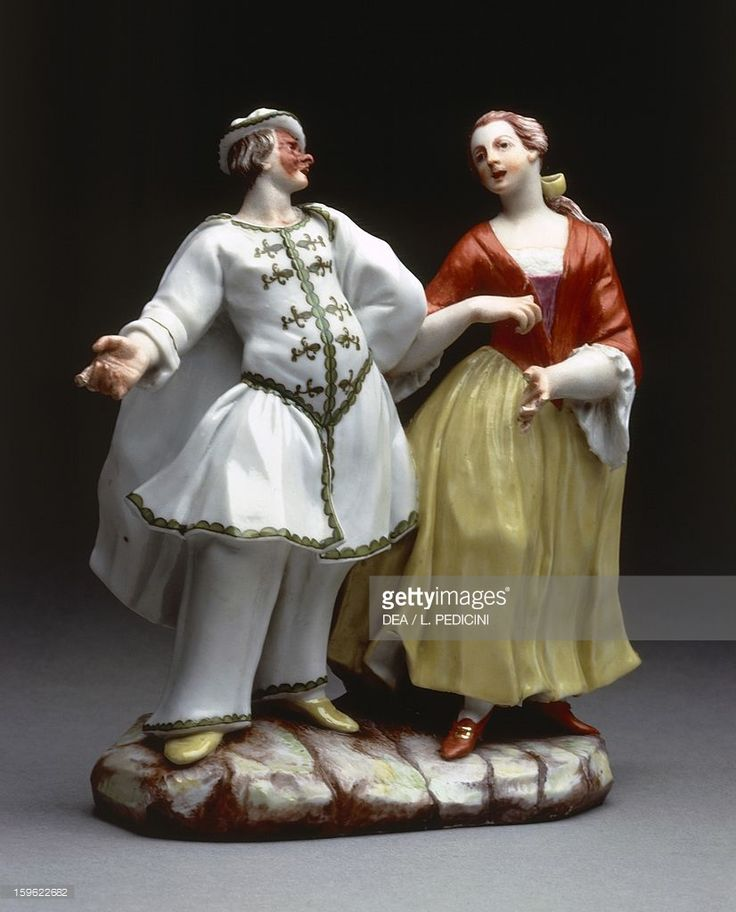 Foto stock : Brighella and his companion, characters from Commedia dell'Arte, 1755-1760, porcelain, height 15.5 cm, Ginori manufacture, Doccia, Sesto Fiorentino, Tuscany. Italy, 18th century.