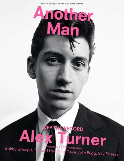 Alex Turner for Another Man magazine, issue 16 , spring/summer 2013 | Magazine Cover: Graphic Design, Typography, Photography | Photo: Willy Vanderperre |
