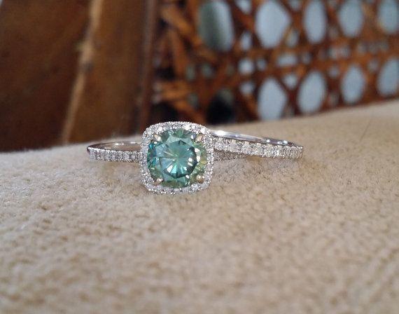 Halo Teal Moissainte Diamond Ring Gemstone by PenelliBelle on Etsy