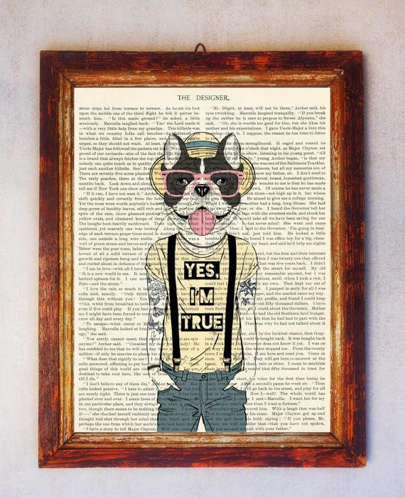 Bulldog with Tattoos Art Print Hipster Bulldog Bulldog Wall