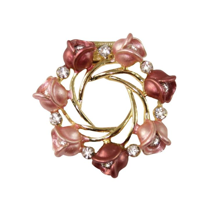 Ring a Ring of Roses Pink Enamel and Clear Crystal Scarf Ring