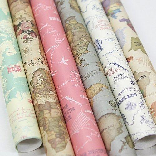 Аутентичные Корейский индиго карта мира DIY декоративный подарок упаковка подарок оберточная бумага обложка книги обложка книги