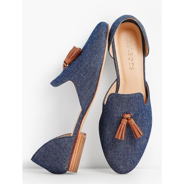 Talbots Women's Frannie D'Orsay Tassel Flats Denim ($90) ❤ liked on Polyvore featuring shoes, indigo blue, flat shoes, talbots shoes, tassel shoes, indigo shoes and flat d orsay shoes