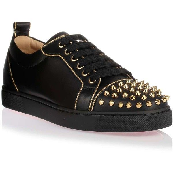 christian louboutin sneakers shoes black studs spikes red bottom