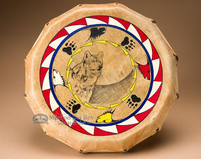 """Lakota Painted Drum 16"""" Black Bonnet -Wolf (pd76) - Mission Del Rey Southwest"""