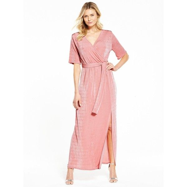 V By Very Wrap Over Slinky Maxi Dress (£18) ❤ liked on Polyvore featuring dresses, white party dresses, party maxi dresses, party dresses, white dress and sexy going out dresses