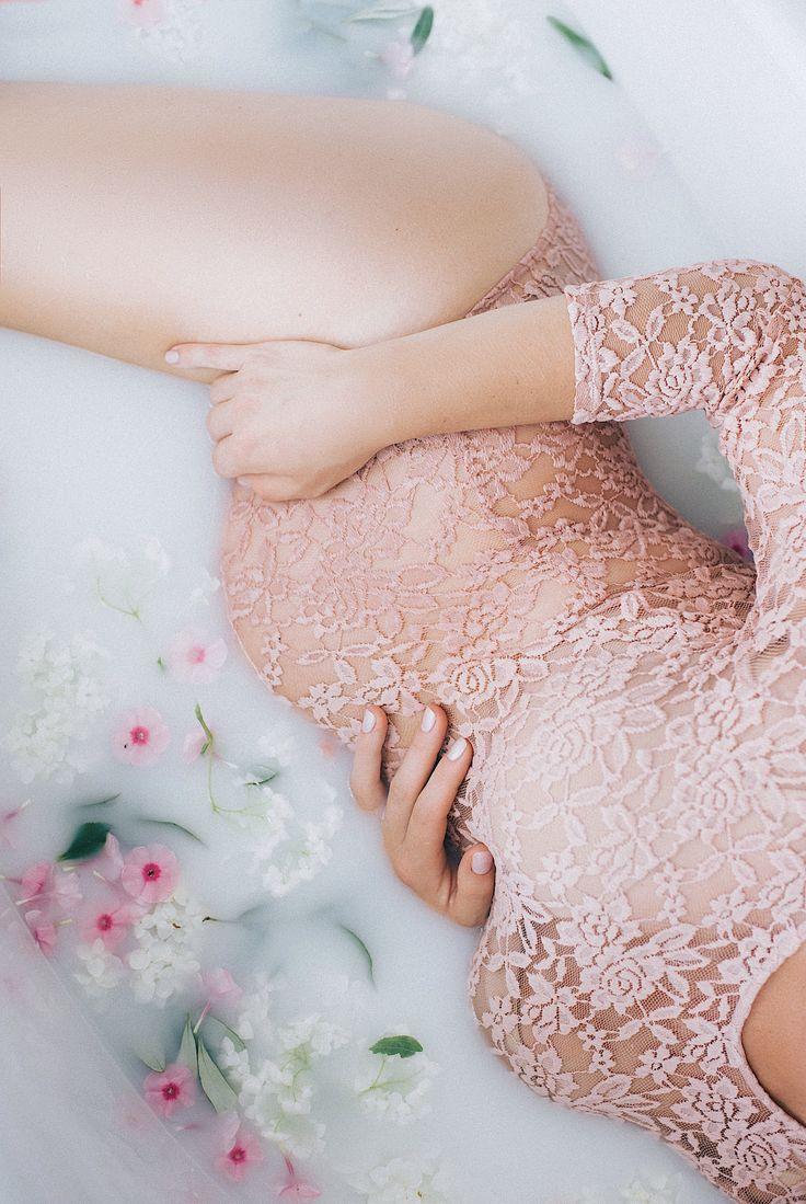 Pregnancy flowers milk bath