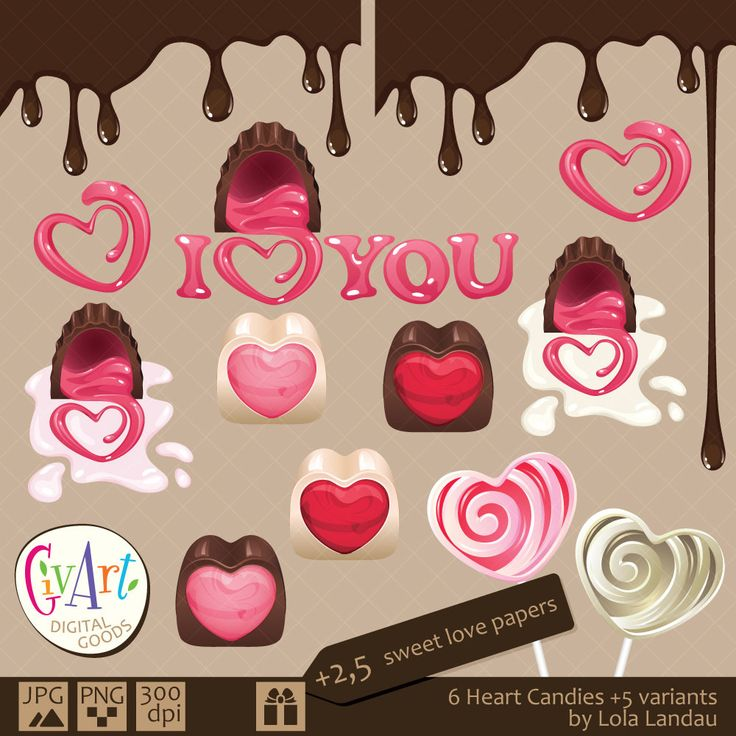 Heart shaped chocolate candies and lollipop and sweet love digital papers for invitations, birthdays, scrapbooking. Instant Download by GivArt on Etsy