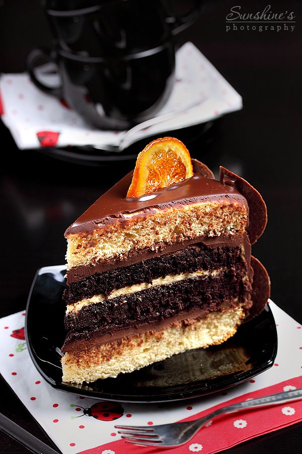Choco-orange cake slice by kupenska.deviantart.com on @deviantART