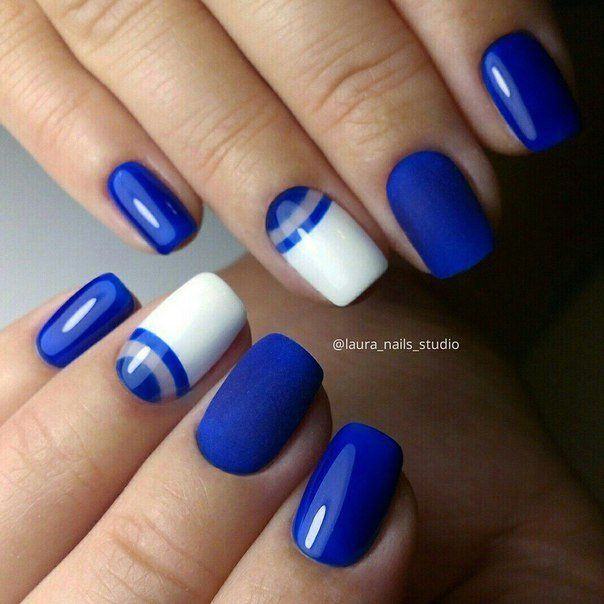 Blue gel nail polish, Blue nails ideas, Fashion nails 2016, Glossy nails, Graduation nails, Manicure 2016, Manicure by summer dress, Nails with white gel polish