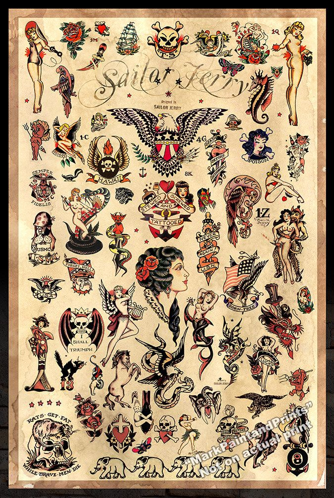 Sailor Jerry Tattoo Flash 3 Poster drucken von MarkPaintAndPrints