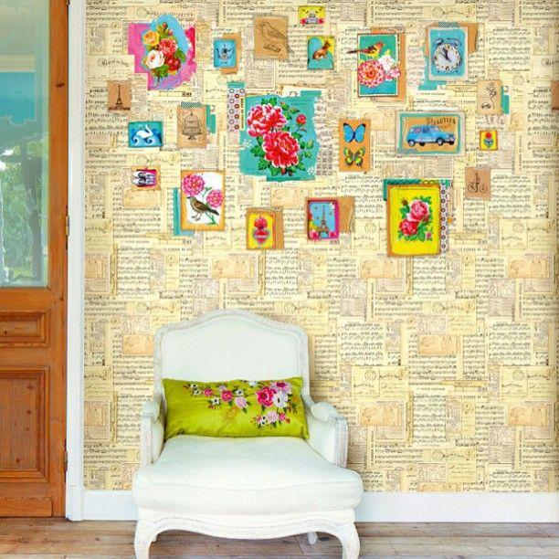 Love this wall! #mixedmedia #wallpaper #musicsheets #homedecorblogger #homedecor #teamfollowback