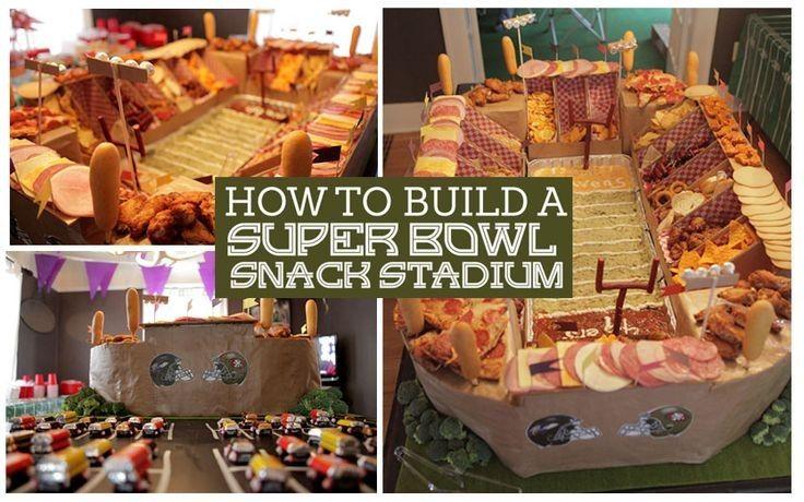 creative homemade Super Bowl bread snack stadium recipe in paper box - 2016 Valentine's day dessert, stadium ideas, party food