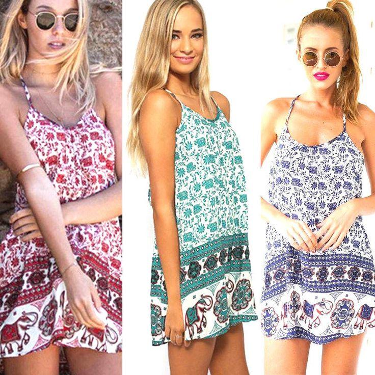 Kurzes Kleid BOHO Hippie beach dress Strandkleid ärmellos Elefant türkis Gr.S/M | eBay