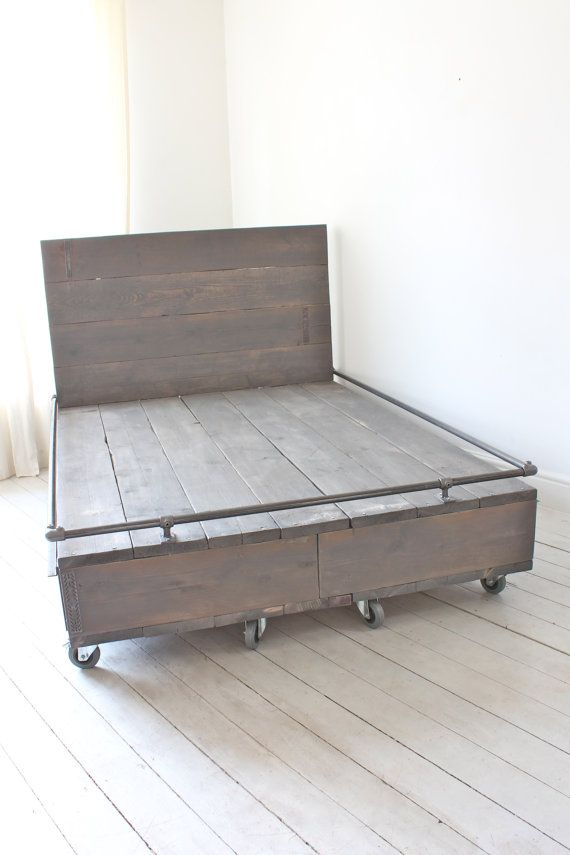 Catriona Reclaimed Scaffolding Board Grey Washed Kingsize Bed on Castors with…