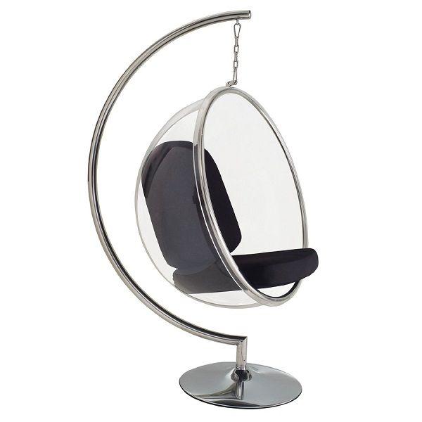 $799.00 | Retro-Futuristic Furniture, LexMod Eero Aarnio Style Bubble Chair With Black Pillows, Modern Home, Futuristic Furniture, 1970's Interior, Futuristic Stool, Clear Furniture | FuturisticSHOP.com