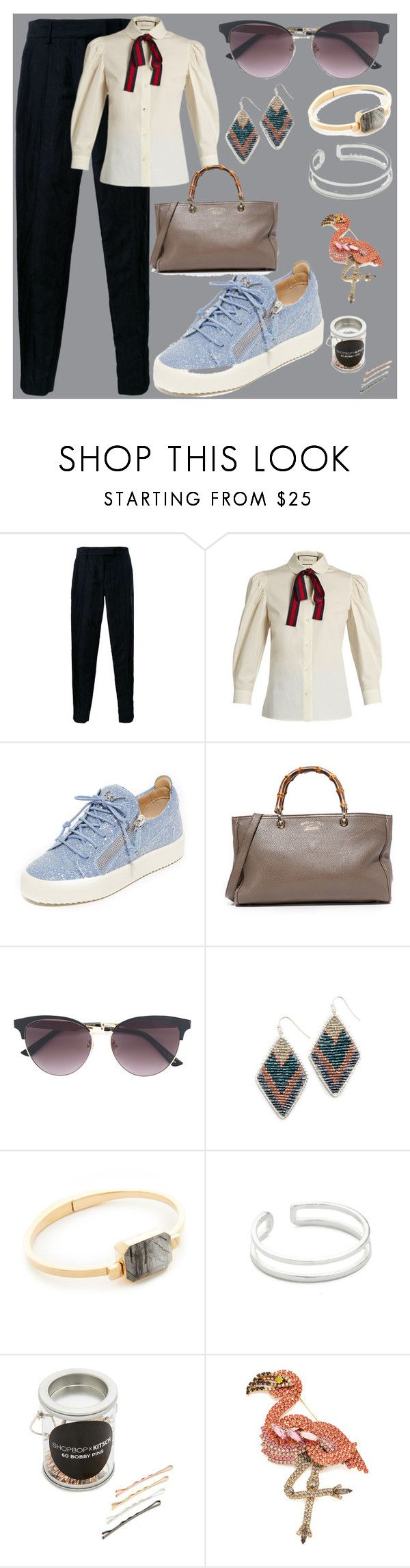 """Unique fashion"" by camry-brynn ❤ liked on Polyvore featuring STRATEAS.CARLUCCI, Gucci, Giuseppe Zanotti, NAKAMOL, Ringly, Maya Magal, Kitsch and Elizabeth Cole"
