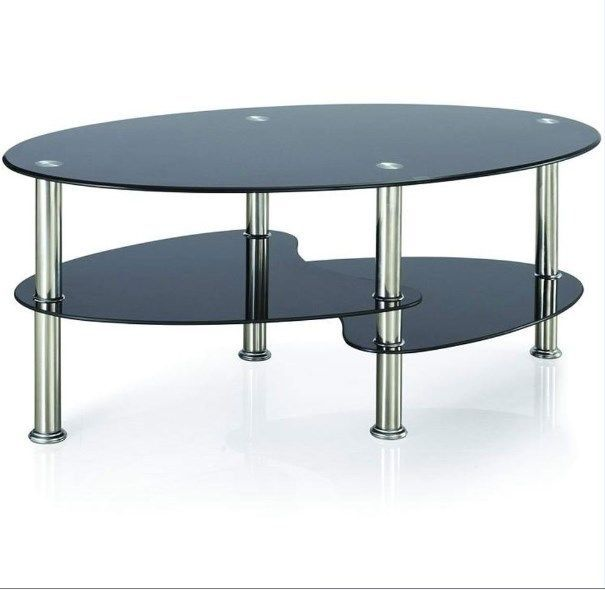 Home Discount Cara Black Glass Coffee Table With Chrome Legs Stainless Steel