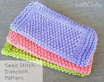 Seed Stitch Dishcloth Pattern, Knitted Dishcloth, Knit Dishcloth Pattern Download - Printable PDF File