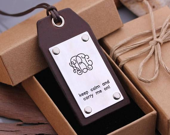 Leather Luggage Tag Personalized Monogram Name Tag Name