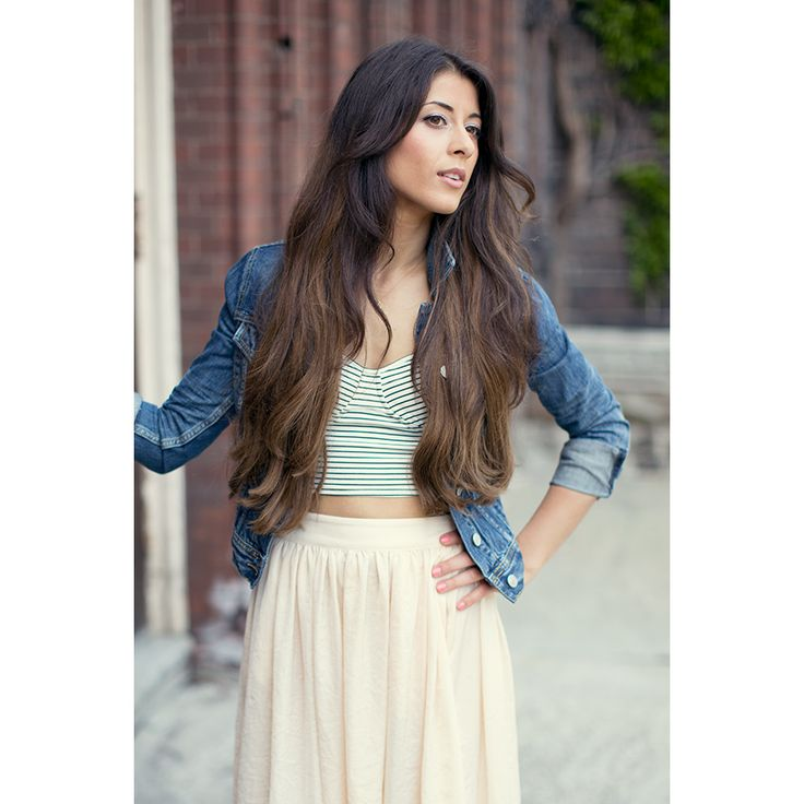 crop top and high waisted skirt fashion inspiration