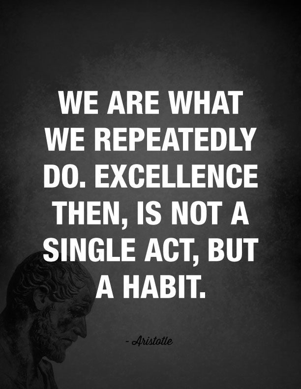 """We are what we repeatedly do. Excellence then, is not a single act, but a habit."" - Aristotle"