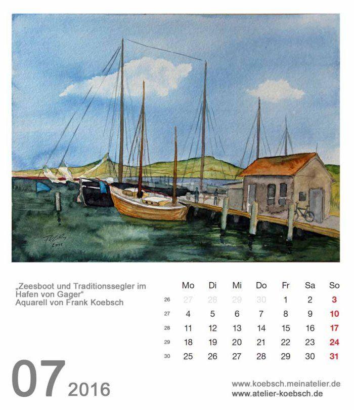Kalenderblatt Juli 2016 | Bilder, Aquarelle vom Meer & mehr - von Frank Koebsch