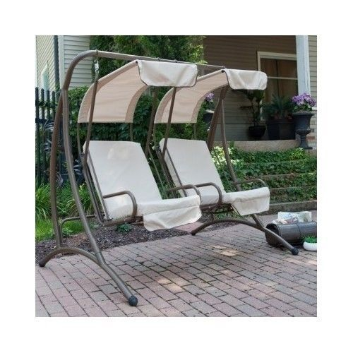 Patio Furniture Swing Canopy Porch Chairs Deck Backyard Outdoor 2 Seat  Glider