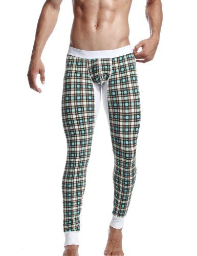 "SEOBEAN Low Rise Mens Underwear Pants Long John Grid Cotton 2272 (L(31-33"")):   Model in size(M): Height 182cm,Wight 75kg; The size for all underwear products are asian size. Please pay a attention before you make order. If you shopping the underwear from U.S.A or EU brands,should be choice one size up."