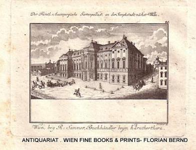 WIEN VIII – Palais Auersperg, original Kupferstich von [Gottfried] Prixner aus: Weidmann: Panorama ...