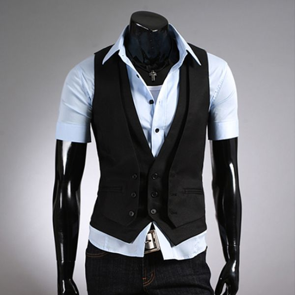 Casual Slim Fit Faux Two Pieces Button Solid Vest