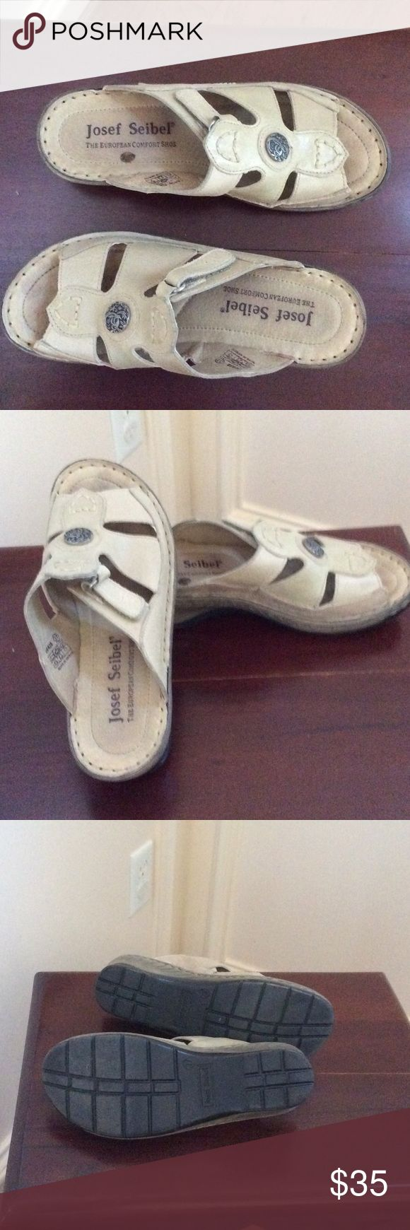 Josef Seibel Sandels The European Comfort Shoe!! Tan with silver embossed button adornment. Decorative stitching and adjustable side closures for a perfect fit.  2 inch heel. Buttery leather.  Lovingly worn few times.  Non smoking home. Josef Seibel Shoes Sandals